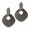 The99jewel Marcasite Stone Black Pearl Stud Earrings