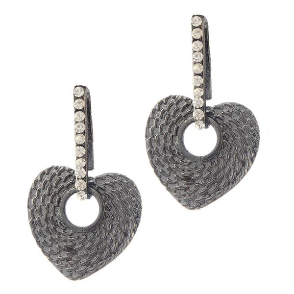 The99jewel Rhodium Plated Stone Dangler Earrings