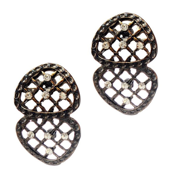 The99jewel White Stone Rhodium Plated Alloy Studs Earrings