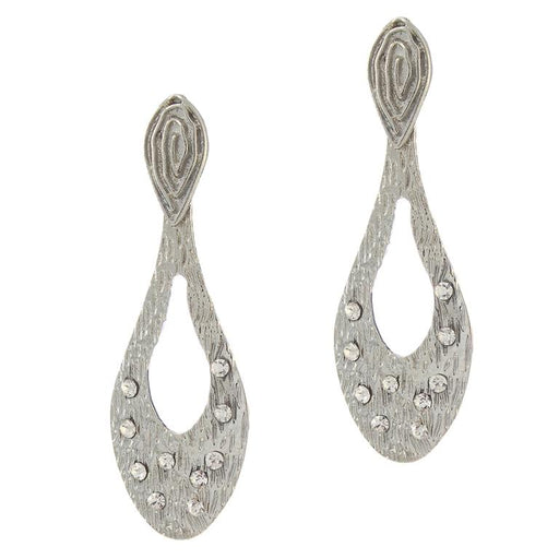 The99jewel Silver Plated White Stone Alloy Danglers Earrings