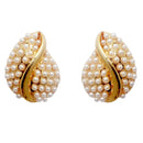 Urbana White Pearl Gold Plated Stud Earrings