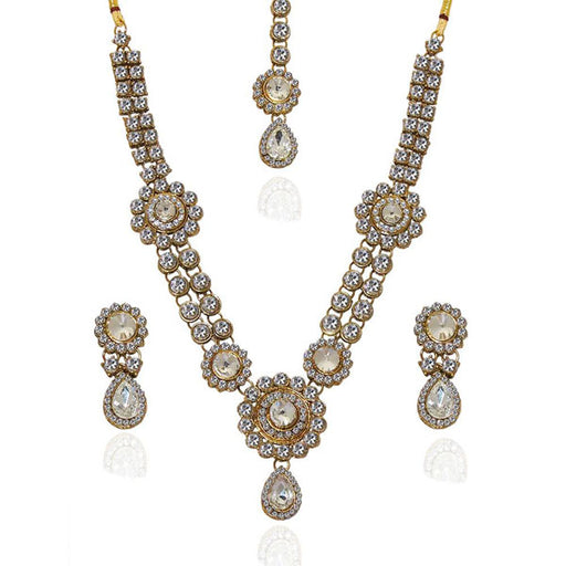 Vivant Charms Glass Stone Necklace Set With Maang Tikka