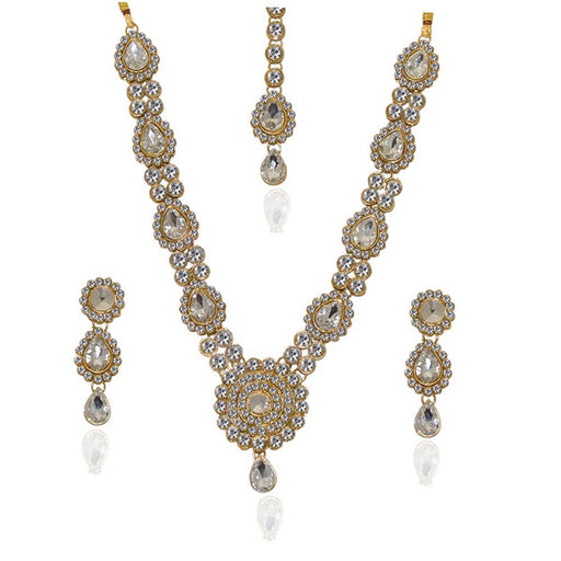 Vivant Charms White Stone Necklace Set With Maang Tikka