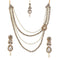 Vivant Charms Pearl Stone Necklace Sets With Maang Tikka