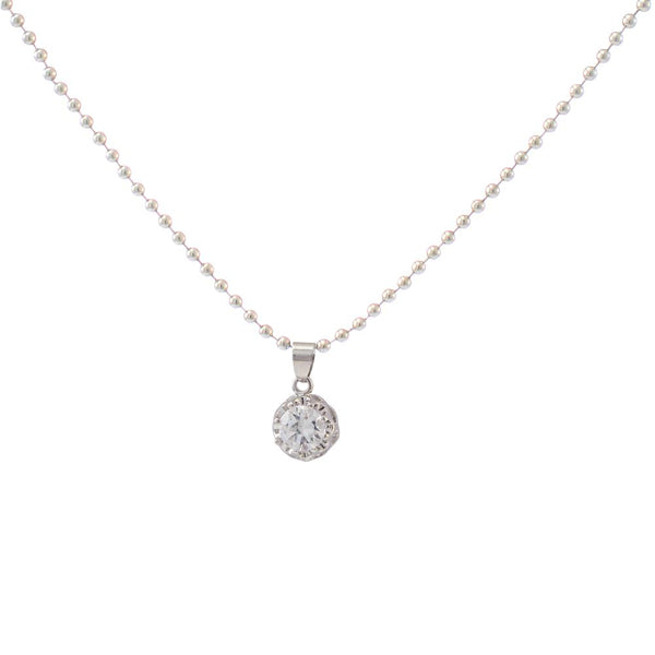 The99Jewel White Austrian Stone Silver Plated Chain Pendant