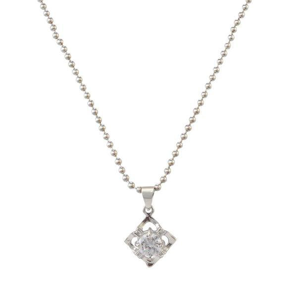The99Jewel Silver Plated Austrian Stone Chain Pendant  - 1200945 - AS