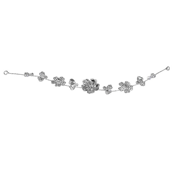 Apurva Pearls Silver Plated Stone Floral Design Hair Brooch