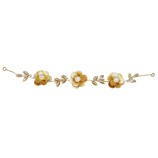 Apurva Pearls Gold Plated Stone Hair Brooch