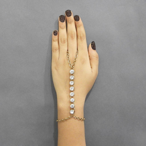Apurva Pearls Gold Plated Stone Chain Hand Harness - Jewelmaze.com