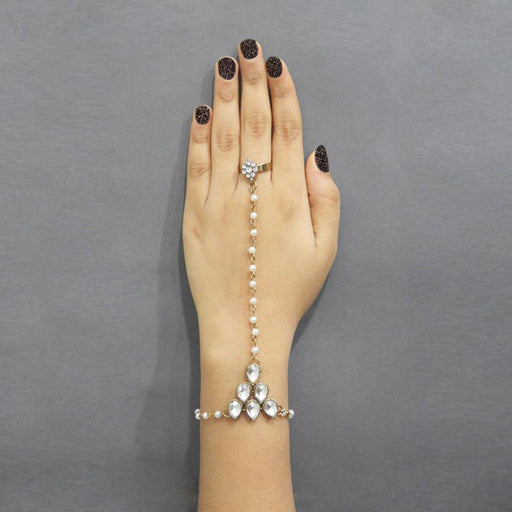 Apurva Pearls Gold Plated Stone Pearl Chain Hand Harness