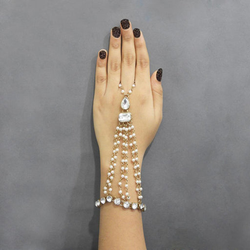 Apurva Pearls Gold Plated Pearl Stone Chain Hand Harness - Jewelmaze.com