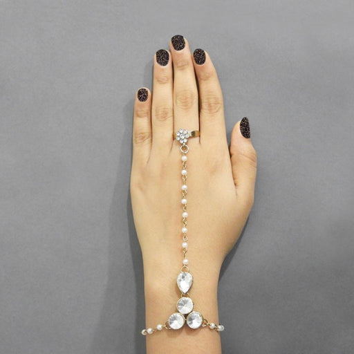 Apurva Pearls Stone Pearl Gold Plated Chain Hand Harness - Jewelmaze.com