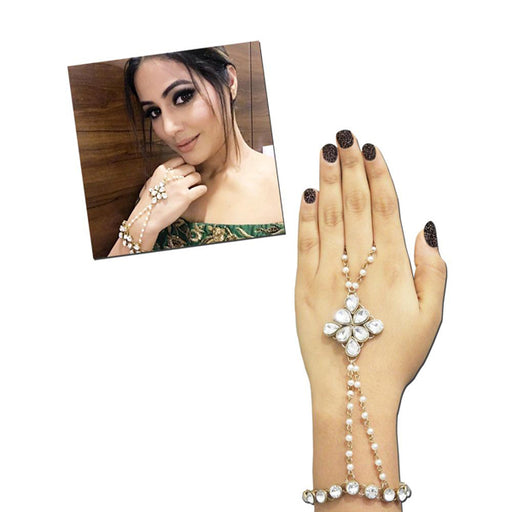 Apurva Pearls Pearl Gold Plated Stone Chain Hand Harness - Jewelmaze.com