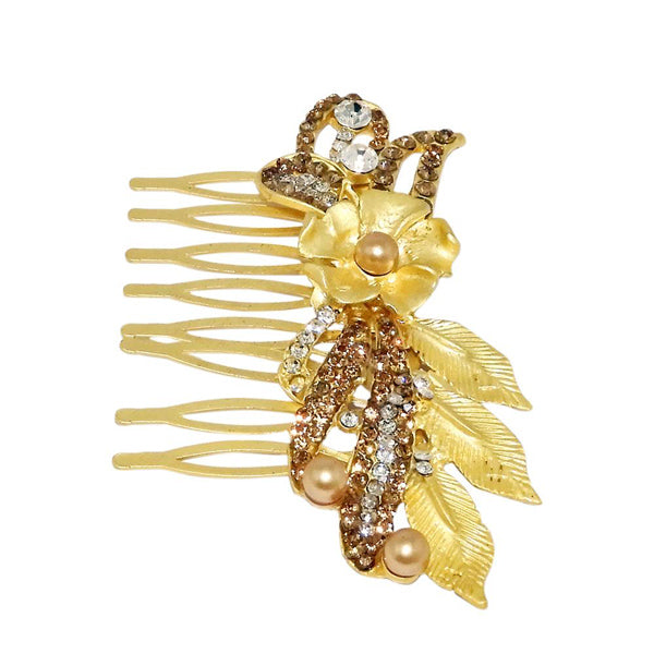 Apurva Pearls Stone Rose Design Gold Plated Hair Brooch