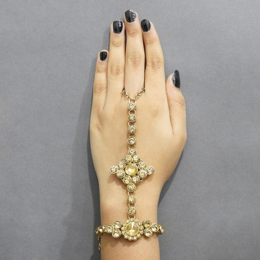 Apurva Pearls Gold Plated Glass Stone Chain Hand Harness - Jewelmaze.com