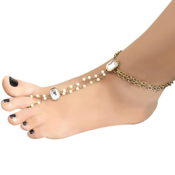 Apurva Pearls Glass Stone & Pearl Chain Single Anklet
