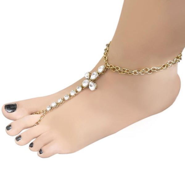 Apurva Pearls Glass Stone Chain Single Anklet