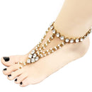 Apurva Pearls Glass Stone And Pearl Chain Single Anklet