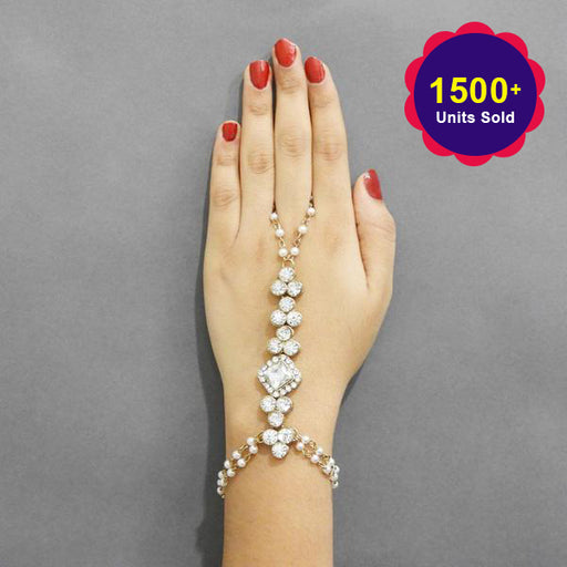 Apurva Pearls Gold Plated Glass Stone Hand Harness