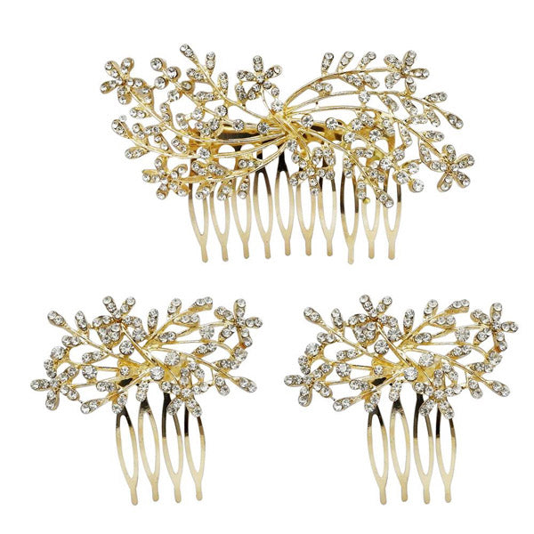 Apurva Pearls Stone Gold Plated Hair Brooch