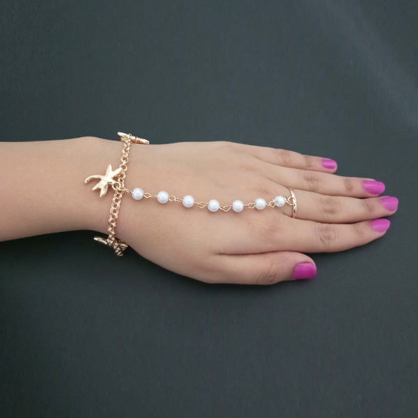 Apurva Pearls Gold Plated Pearl Chain Hand Harness