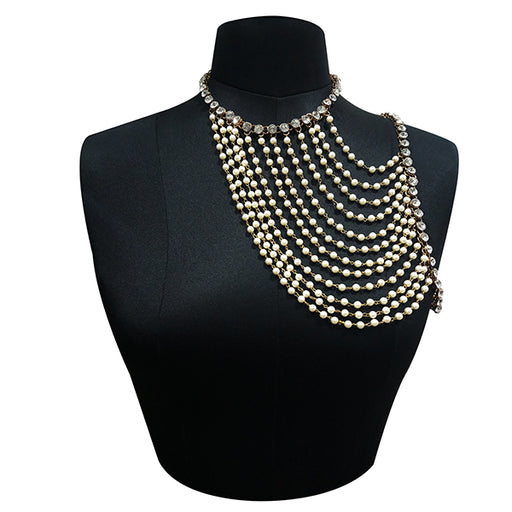 Apurva Pearls Crystal Stone Gold Plated Pearl Neck Piece