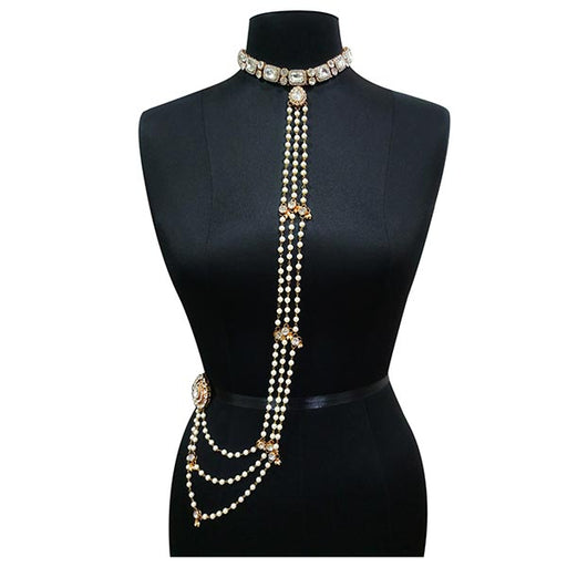 Apurva Pearls Crystal Stone Pearl Body Chain Necklace