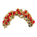 Apurva Pearls Red Floral Design Hair Brooch