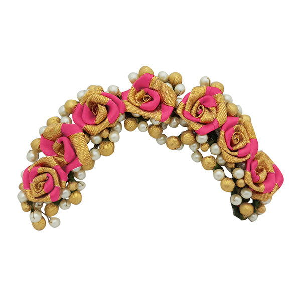 Apurva Pearls Pink Floral Design Hair Brooch
