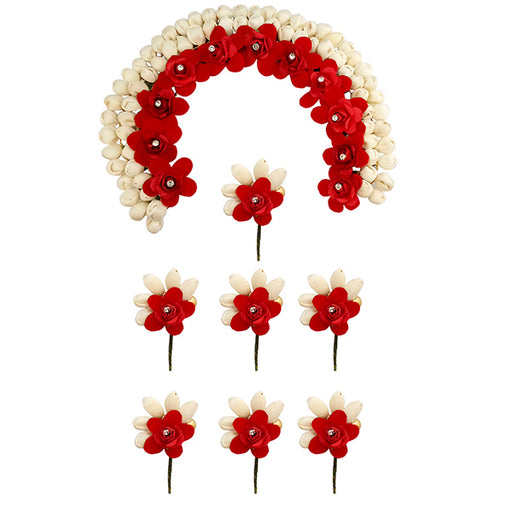 Apurva Pearls Red Floral Hair Brooch