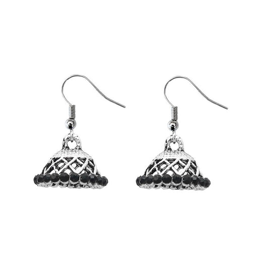 JewelEthnic Black Austrian Stone Rhodium Plated Jhumki