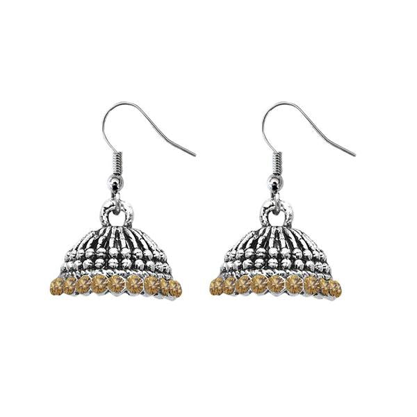 JewelEthnic Yellow Austrian Stone Rhodium Plated Jhumki