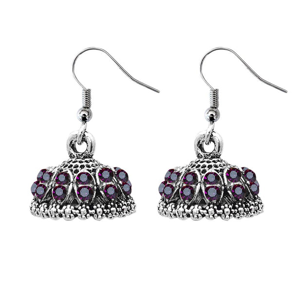 JewelEthnic Purple Austrian Stone Rhodium Plated Jhumki