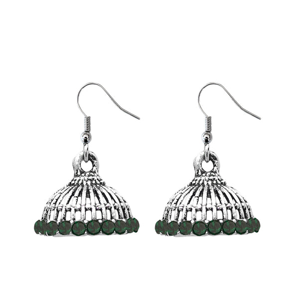 JewelEthnic Green Austrian Stone Rhodium Plated Jhumki