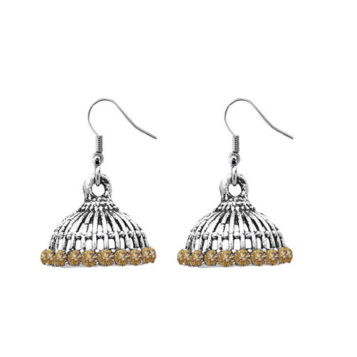 JewelEthnic Brown Austrian Stone Rhodium Plated Jhumki