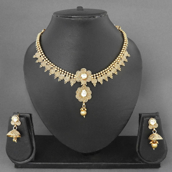 Sai Raj Kundan AD Floral Design Copper Gold Plated Necklace Set