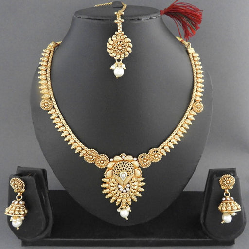 Sai Raj Copper Pearl Drop Necklace Set With Maang Tikka