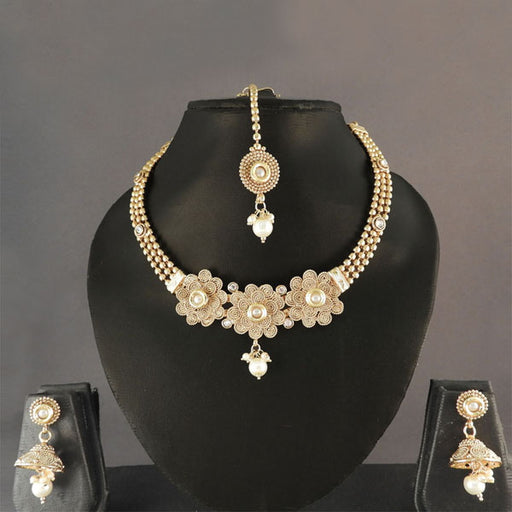 Sai Raj Pearl Drop Copper Gold Necklace Set With Maang Tikka