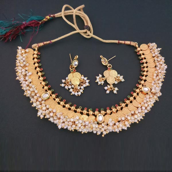 Sai Raj Copper Pearl Temple Coin Gold Plated Necklace Set