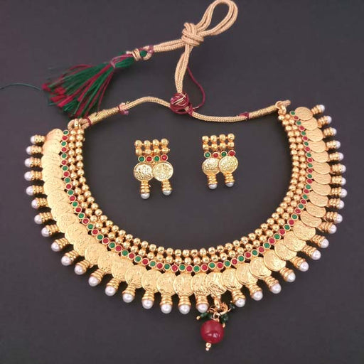 Sai Raj Pearl Drop Copper Temple Coin Necklace Set