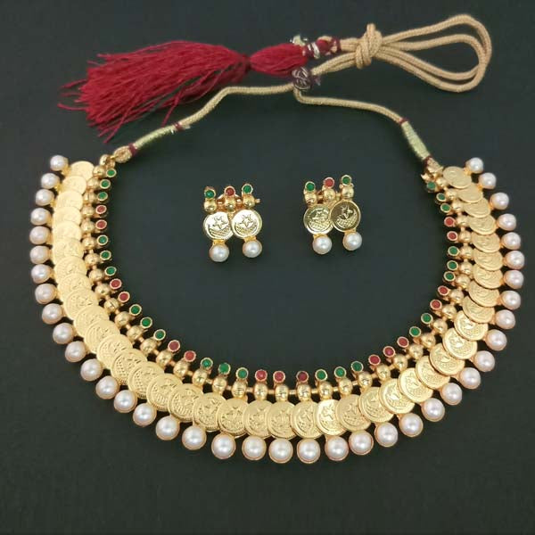 Sai Raj Pearl Drop Copper Temple Coin Gold Plated Necklace Set