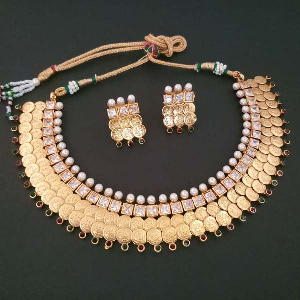 Sai Raj AD Stone Temple Coin Copper Necklace Set