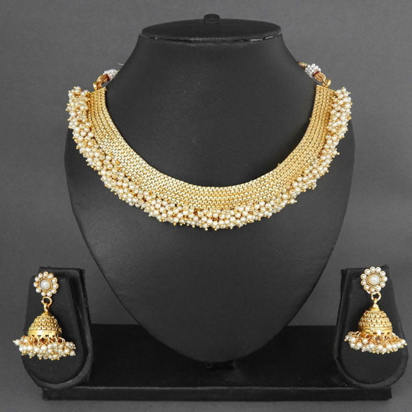 Sai Raj Gold Plated Pearl Drop Copper Necklace Set