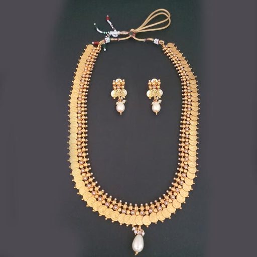 Sai Raj Temple Coin Copper Pearl Necklace Set