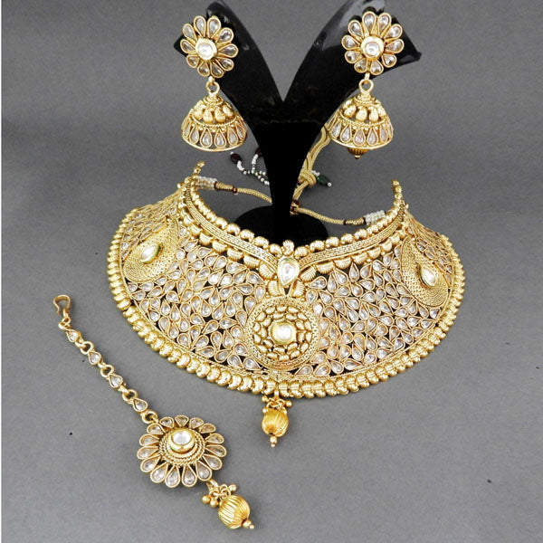 Sai Raj Copper Kundan AD Choker Necklace Set With Maang Tikka
