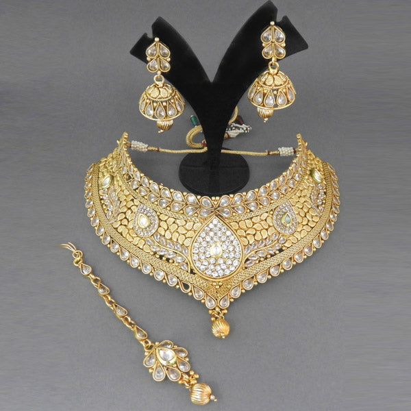 Sai Raj Kundan AD Copper Choker Necklace Set With Maang Tikka