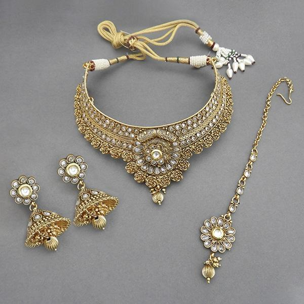 Sai Raj AD Stone Copper Necklace Set With Maang Tikka - FAP0074A