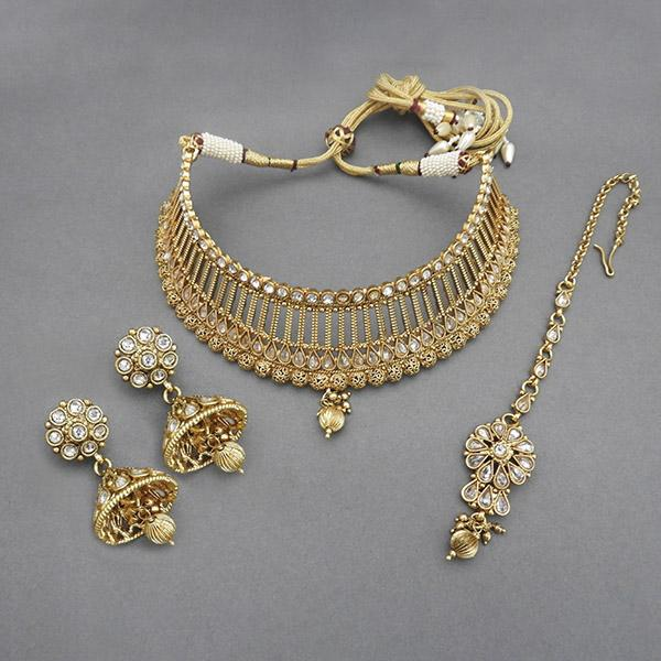 Sai Raj AD Stone Copper Necklace Set With Maang Tikka - FAP0078A