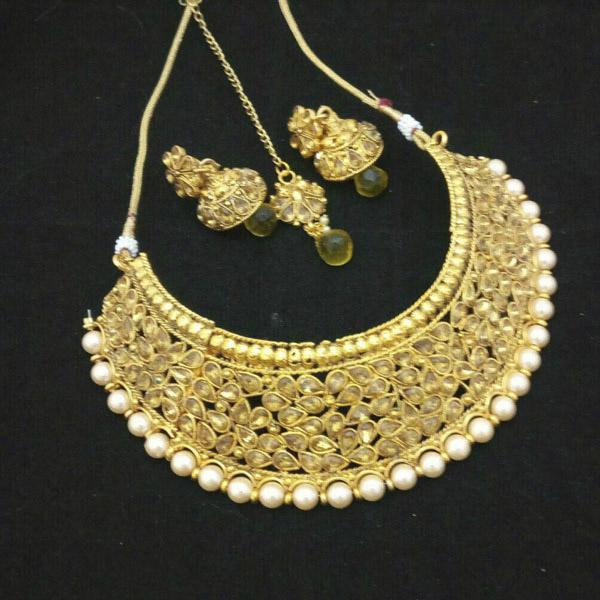 Sai Raj AD Stone And Pearl Copper Necklace Set With Maang Tikka - FAP0087