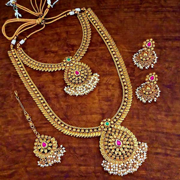Sai Raj Pota Stone Double Necklace Set With Maang Tikka